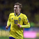 SOLNA, SWEDEN - NOVEMBER 10: Emil Forsberg of Sweden during the FIFA 2018 World Cup Qualifier Play-Off: First Leg between Sweden and Italy at Friends arena on November 10, 2017 in Solna, Sweden. (Photo by Catherine Ivill/Getty Images)